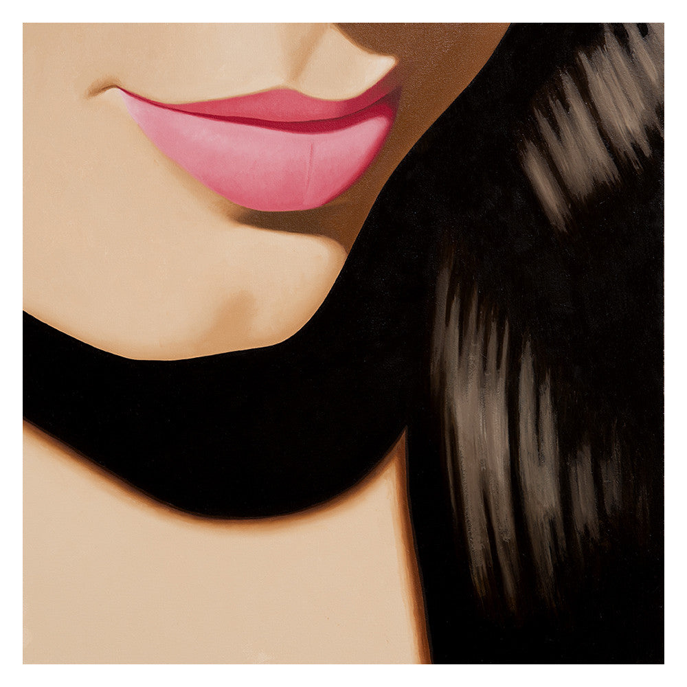 Smiling while reflecting on a recent experience, a young woman is caught in an intense white light that illuminates areas of her rich dark hair and pink lips. Painting by KimKern.com.