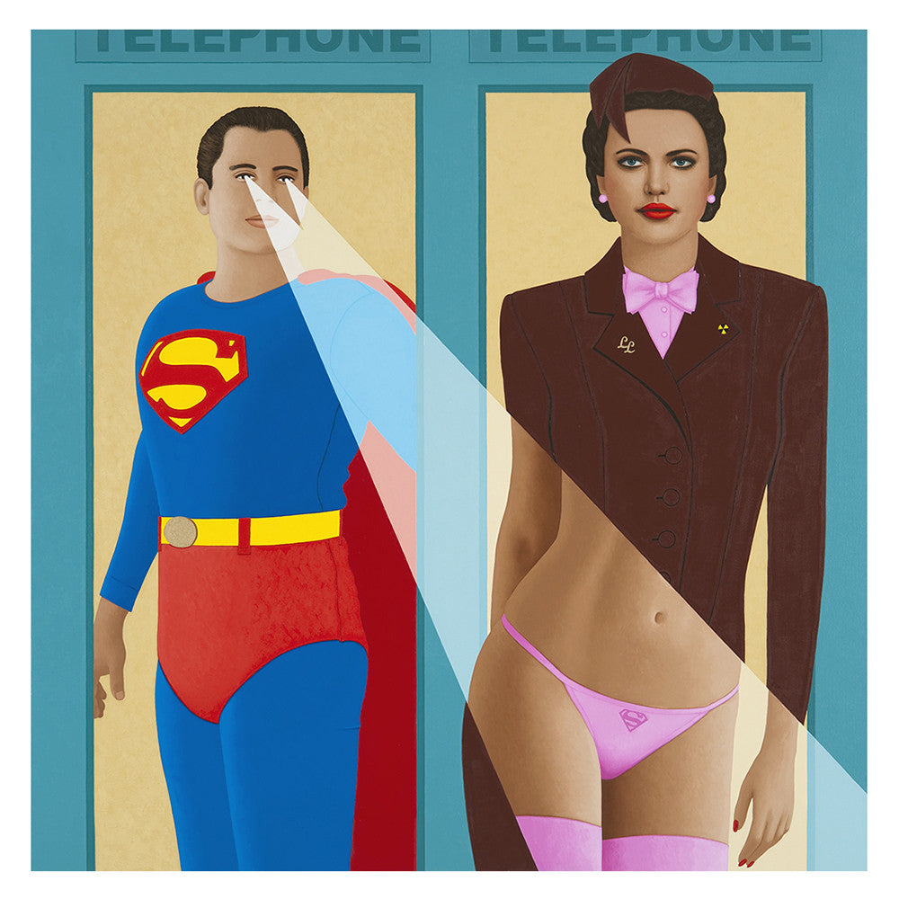 Superman uses x-Ray vision on Lois Lane. Painting by KimKern.com.