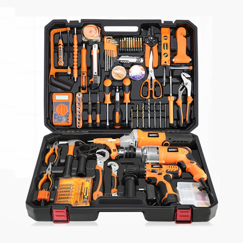 Multi-functional Toolbox Electric Drill Household Tool Set Maintenance Toolbox Hardware Electrician Woodworking tool kit YK-966