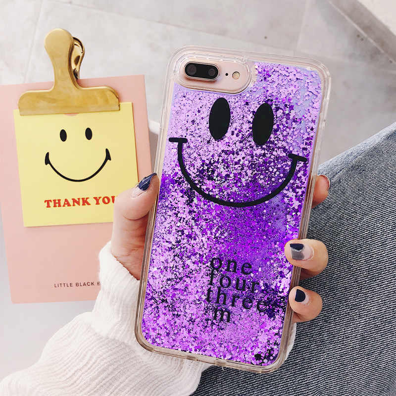 Glitter iPhone Cover Smiiley Moving Glitter Phone Case