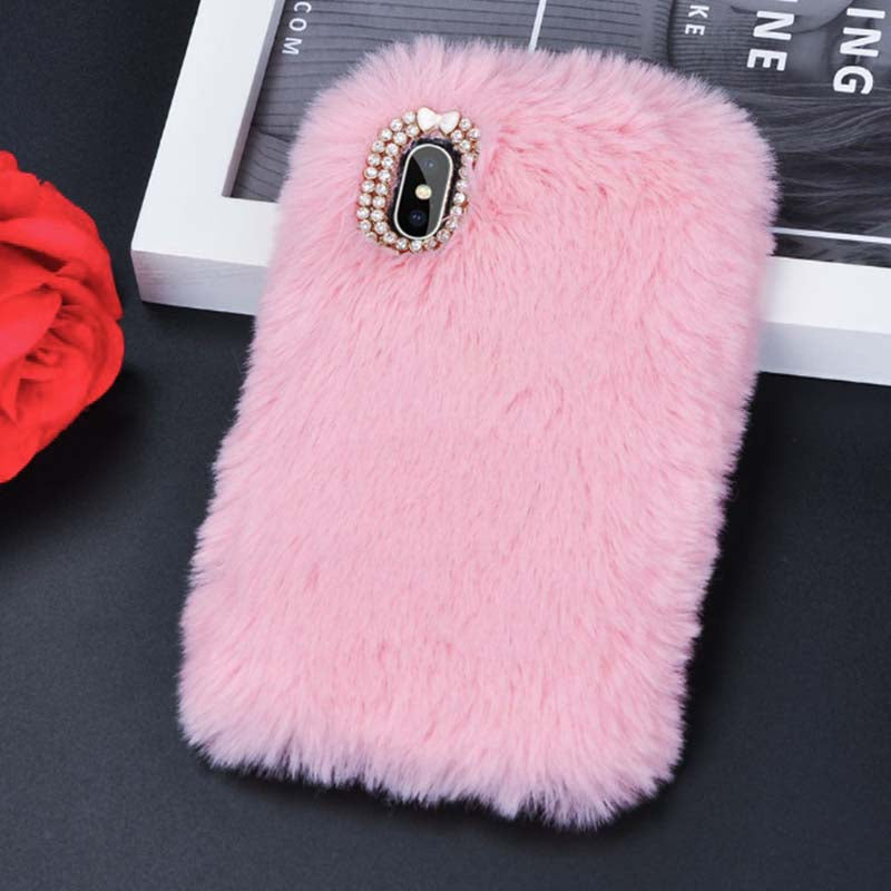 iPhone Cover Fluffy Fur Pink Case Cute Phone Cases