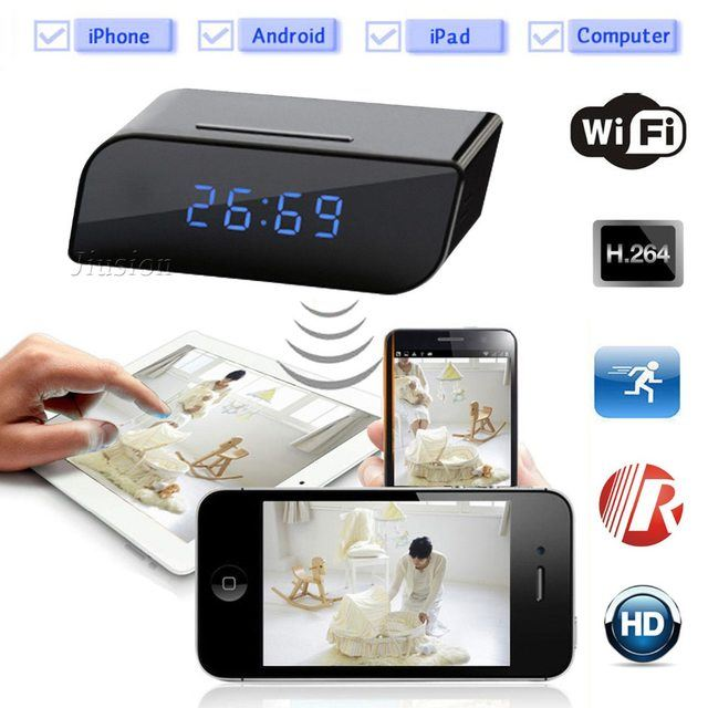 New Clock Wireless Wifi Best Home Security Camera Black 1080P