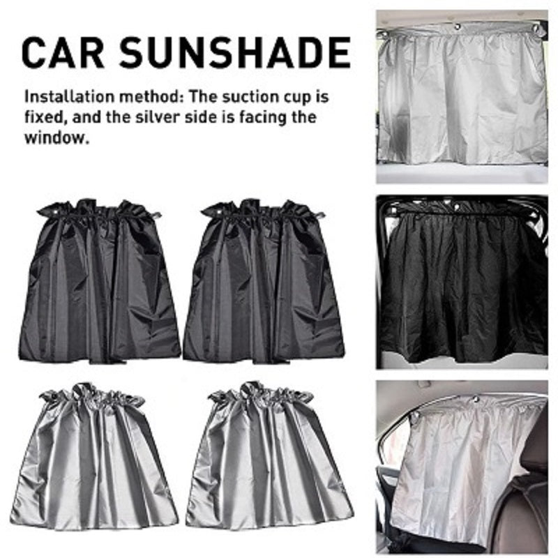 New 2 PCS Set Sucker Fixing Car Sunshade Curtain For All Vehicles