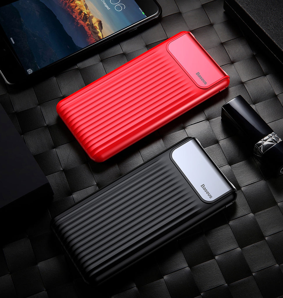 Stylish Baseus Thin Digital 10000mAh Power Bank QC 3.0 Dual USB