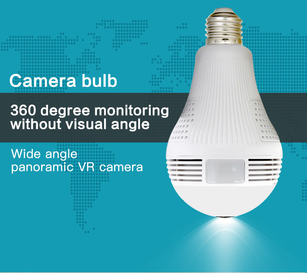 Luxurious Vr-V380 Wifi camera light bulb panoramic security hidden camera
