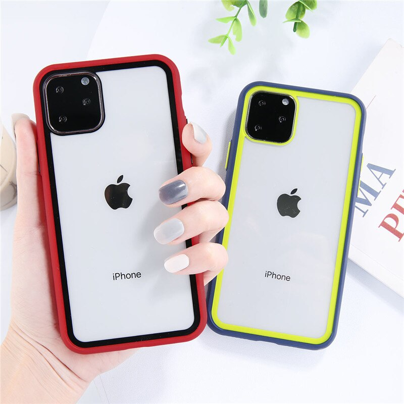 New On Trend Transparent Candy Contrast Color Phone Case For Redmi