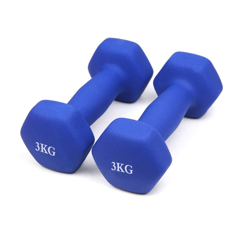 2pcs 3KG Vinyl Dumbbells Fitness Home Gymnastics Exercise Training