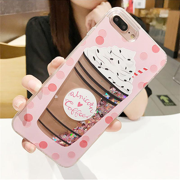 New Bottle Ice-cream & Cat Sand Glitters Mobile Liquid Phone Case For iPhone