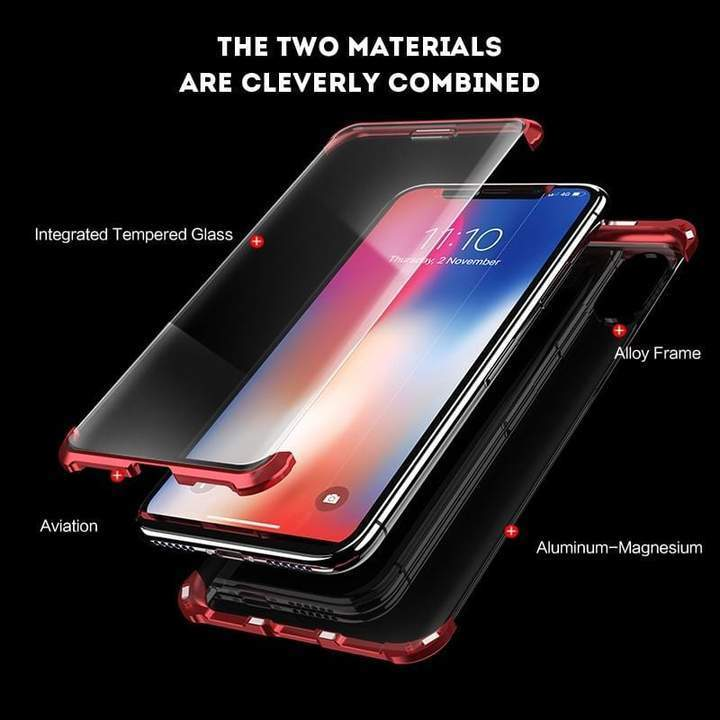 Frameless Metal Magnetic HQ Double Glass Case For iPhone - Pkgator