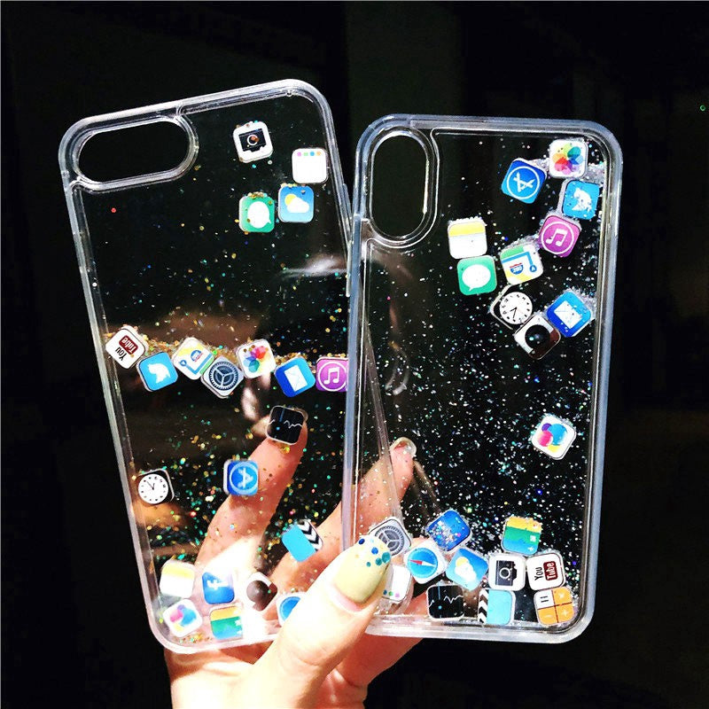 New Quick Sand Social Media Moving Glitter Case For iPhone