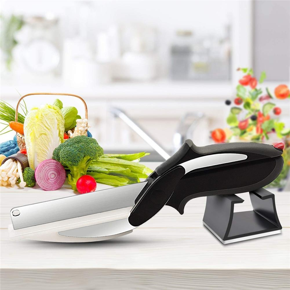 New Luxury Multi Function 2 In 1 Kitchen Scissors Smart Clever Cutter