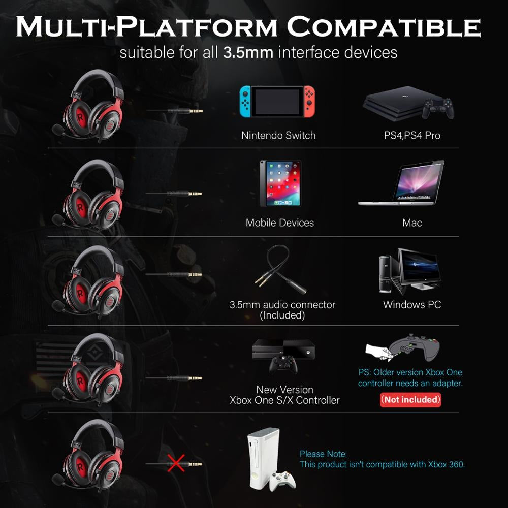 EKSA Gaming Headset 7.1 Bluetooth Headphones For All Smartphones