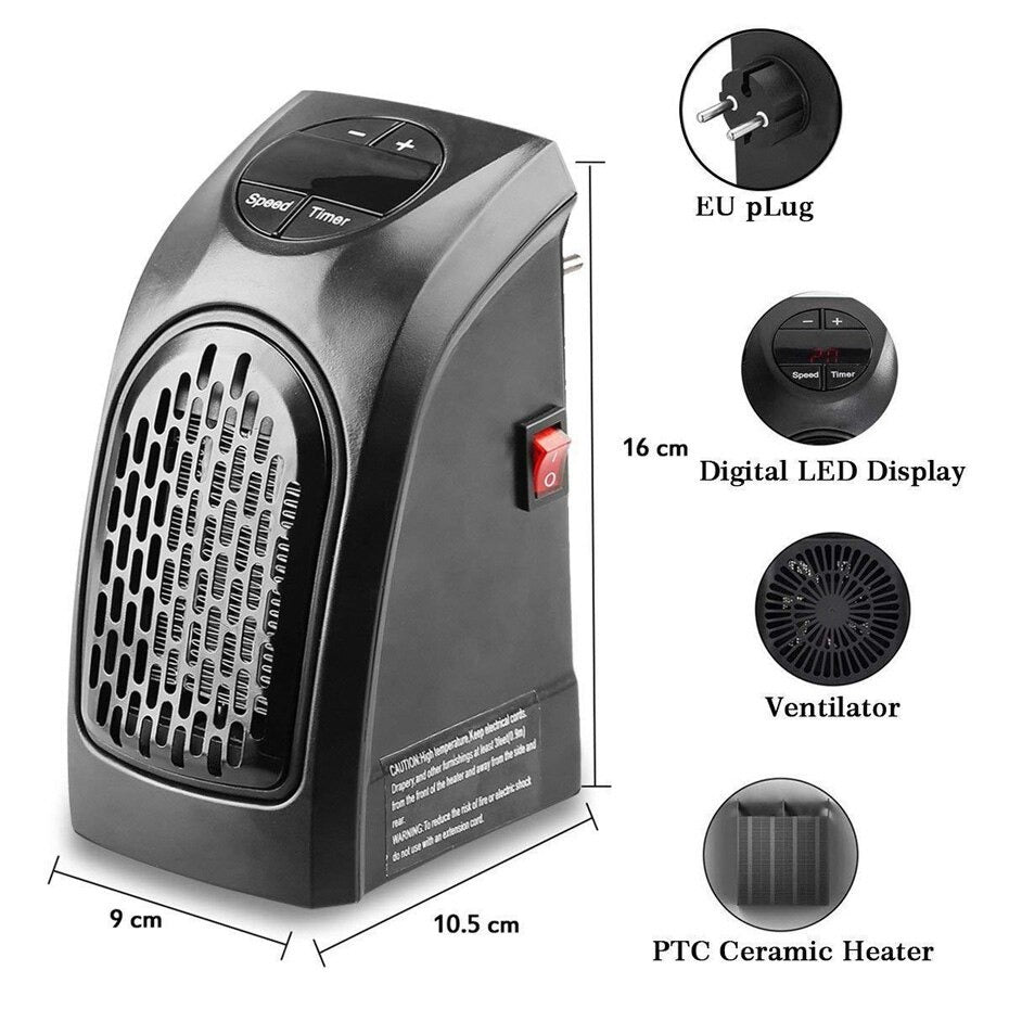Electric Wall Heater Mini Portable Home Office Room Heater