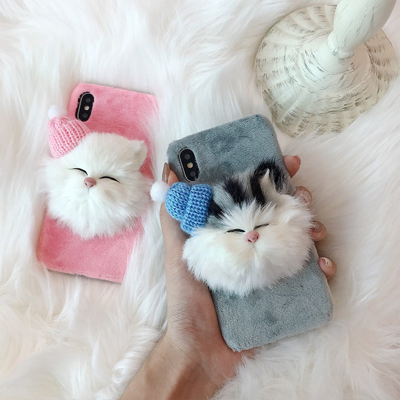 New Trendy Hat Cute Cat Fluffy Fur Phone Case For iPhone