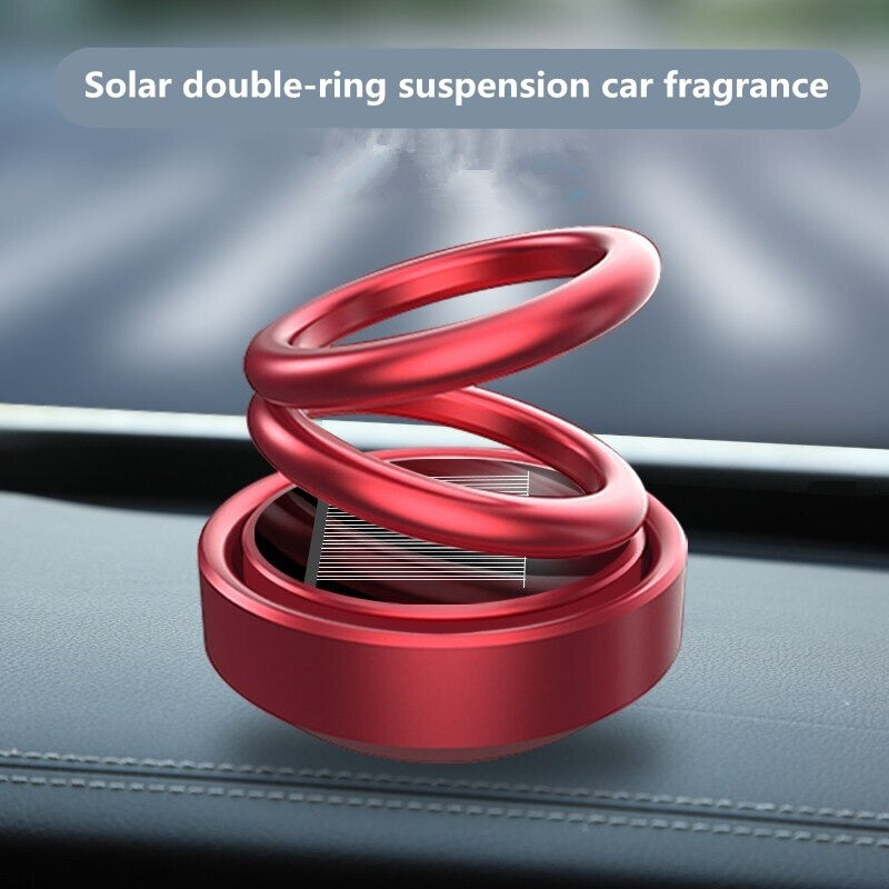 New Solar Power Car Aroma Air Freshener Double Rotating Ring