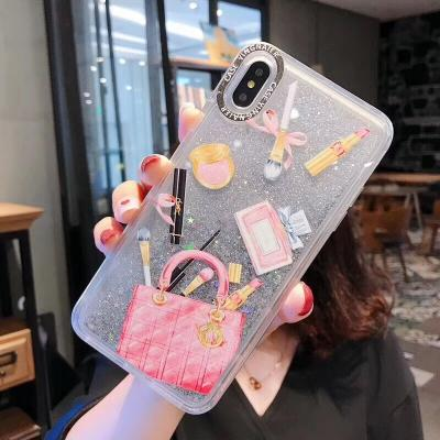 New Stylish Makeup Pattern Moving Glitter Phone Case For Huawei - Pkgator