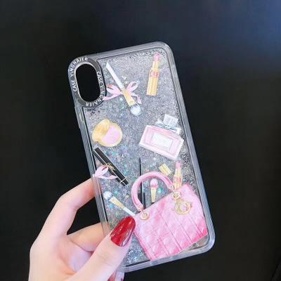 New Stylish Makeup Pattern Moving Glitter Phone Case For Samsung - Pkgator