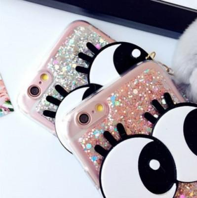Downy Ball Big Eyes Bling Glitter Eye Phone Case For iPhone - Pkgator