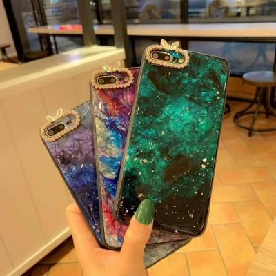 Marble Pattern With Glitter Hard Tempered Glass Case For Huawei - Pkgator