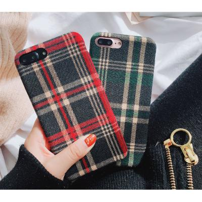 New Trendy Fabric Cloth Check Style Mobile Cover For Samsung - Pkgator
