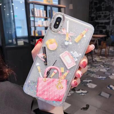 New Stylish Makeup Pattern Moving Glitter Phone Case For iphone - Pkgator