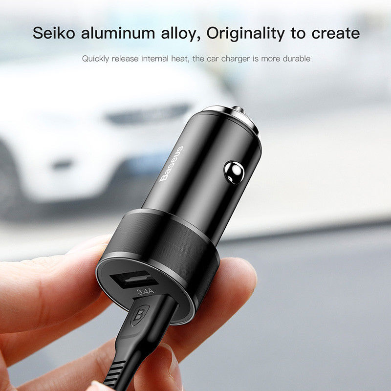 Baseus Dual USB Universal Mini Mobile Phone Fast Charge Car-Charger