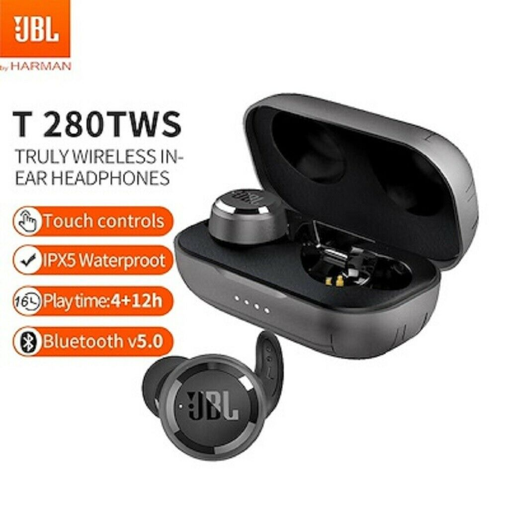 JBL T280 TWS True Wireless Stereo In-ear Earbuds Waterproof Sports Headphones