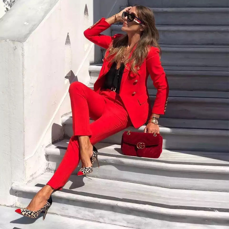 Red office suit