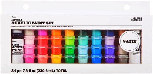 ACRYLIC PAINT SET 34PCS  SATIN