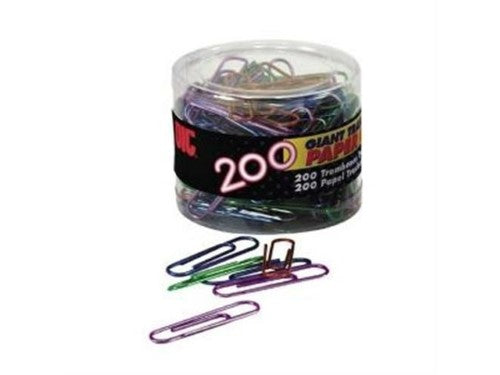 PAPER CLIPS JUMBO ASSORTED COLORS PQ.200