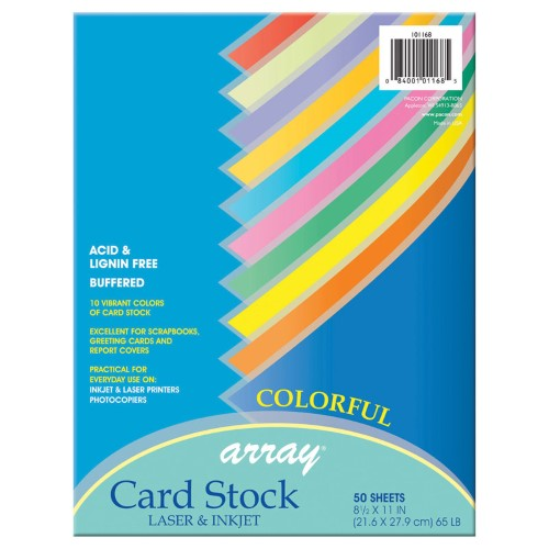 COLORFUL CARD STOCK ASST PQT. 50