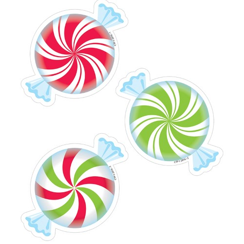 "PEPPERMINT CANDIES 3"" DESIGNER CUT-OUTS 36 PC"