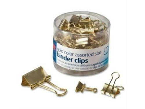 BINDER CLIPS ASSORTED SIZE GOLD PQ.30