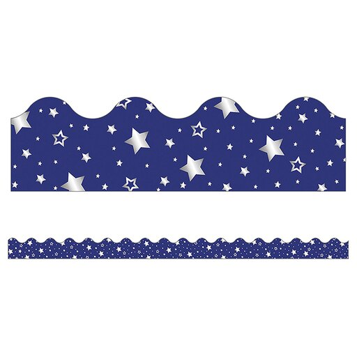 NAVY WITH FOIL STARS SCALLOPED BORDERS 13 PC