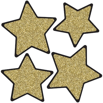 SOLID GOLD GLITTER STARS CUT-OUTS 36 PC