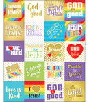 WORDS OF PRAISE SHAPE STICKERS 120 STICKERS