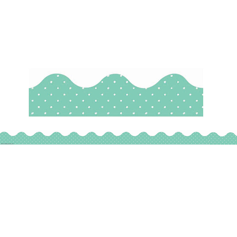 SIMPLY SASSY TEAL POLKA DOTS DECO TRIM 12 PC