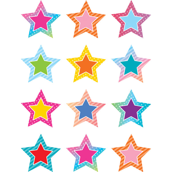 COLORFUL VIBES STARS MINI CUT-OUTS 36 PC