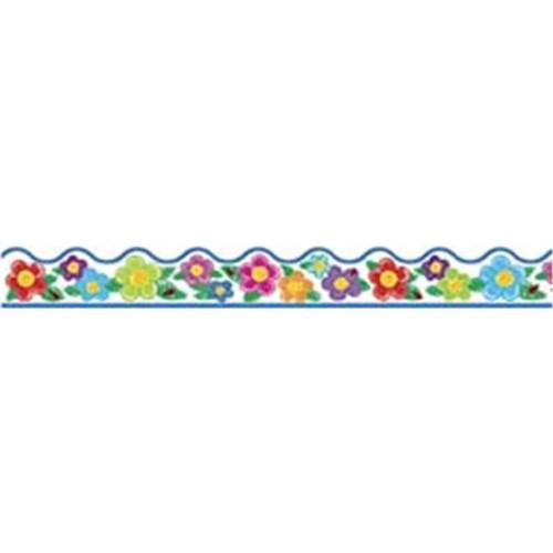 CRAYON FLOWERS BORDER SCALLOPED