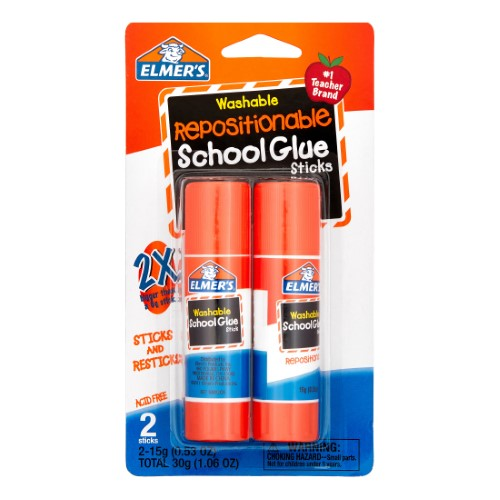 REPOSITIONABLE SCHOOL GLUE STICK 2CT 53OZ