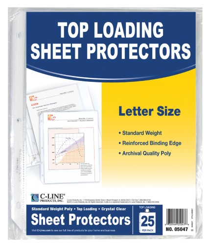 STANDARD WEIGHT POLY SHEET PROTECTORS CLEAR PQ.25
