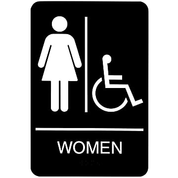 "SIGN ""WOMEN AND WHEELCHAIR"" 6"" X 9"""