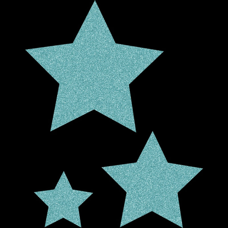 ICE BLUE GLITZ STARS ASSORTED SIZES