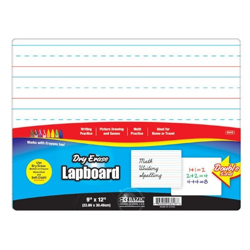 "DOUBLE SLIDED DRY ERASE LAP BOAD 9"" X 12"""