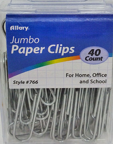 JUMBO PAPER CLIPS SILVER 40 CT