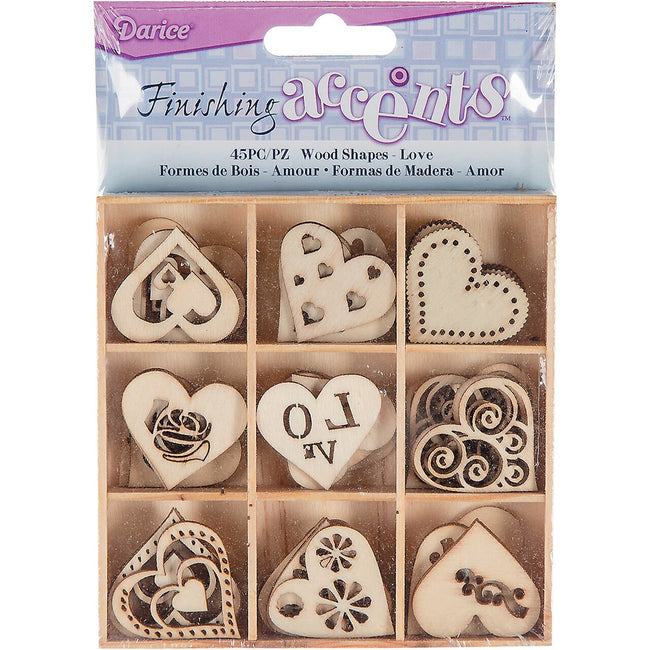 WOODEN SHAPES HEARTS LOVE 45 PC