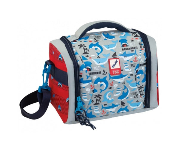 LUNCH BAG SHARK BLUE-GRAY-RED
