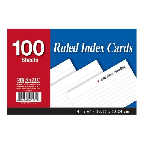 "RULED WHITE INDEX CARDS 4"" X 6"" PQT.100"