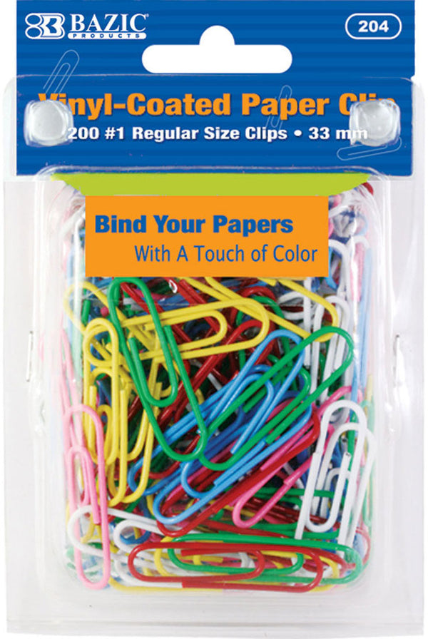 PAPER CLIPS #1 VINYL ASST COLORS PQ.200