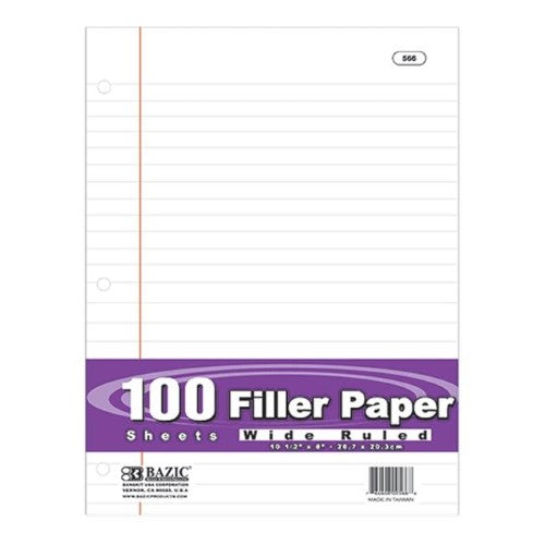 FILLER PAPER WIDE RULED 100 SHEET